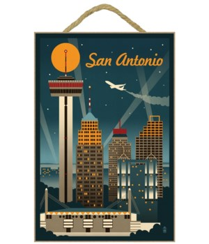 San Antonio, Texas - Retro Skyline - Lan
