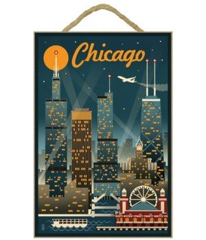 Chicago Illinois - Retro Skyline - Lante