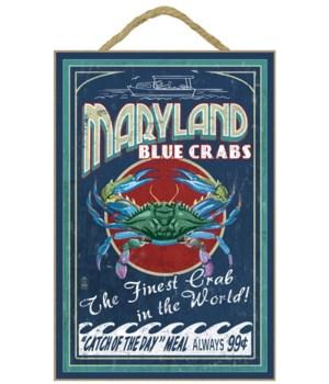 Maryland - Blue Crabs Vintage Sign - Lan