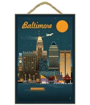 Baltimore, Maryland - Retro Skyline - La