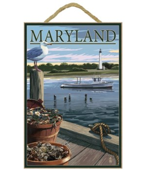Maryland - Blue Crab & Oysters on Dock -