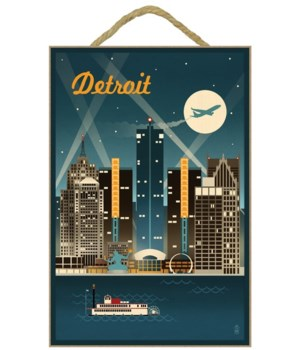 Detroit, Michigan - Retro Skyline - Lant