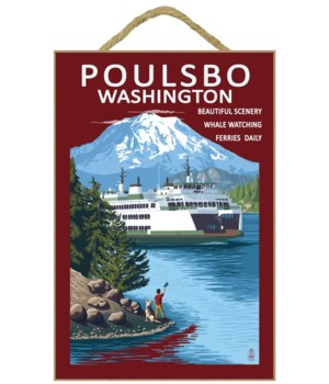 Poulsbo, Washington - Ferry & Mountain -