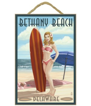Bethany Beach, Delaware - Surfer Pinup -