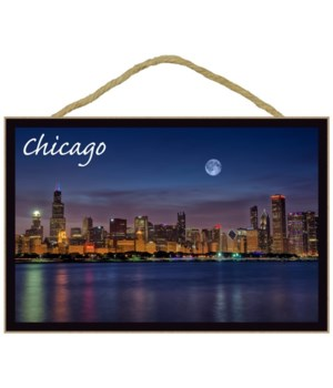 Chicago, Illinois - Skyline at Night - L