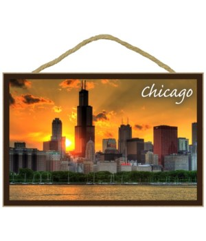 Chicago, Illinois - Skyline at Sunset -