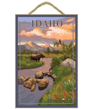 Idaho - Moose and Sunset - Lantern Press