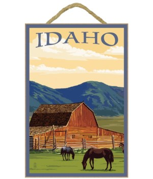 Idaho - Horses & Barn - Lantern Press 7x