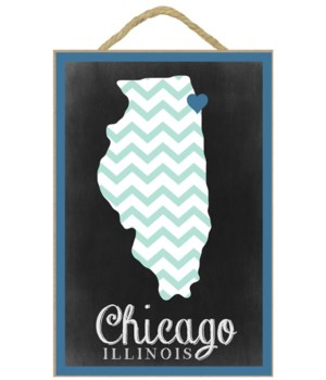 Chicago, Illinois - Chalkboard - Lantern