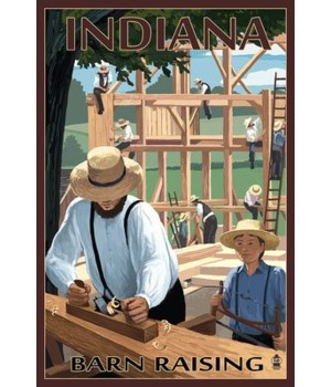 Indiana - Amish Barn Raising Scene