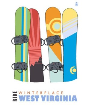 Winterplace, WV - Snowboards in Snow
