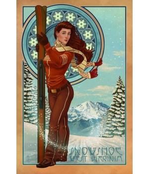 Snowshoe, WV - Art Nouveau Skier
