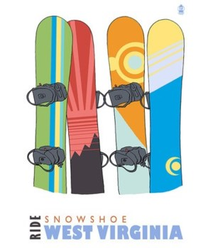 Snowshoe, WV - Snowboards in Snow