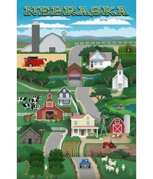 Nebraska - Retro Style Countryside