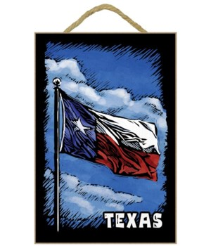 Texas Flag (w/ Text) - Scratchboard - La