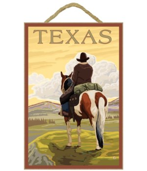 Texas - Cowboy on Ridge - Lantern Press
