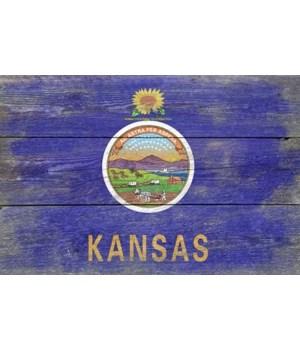 Rustic Kansas State Flag - Lantern Press