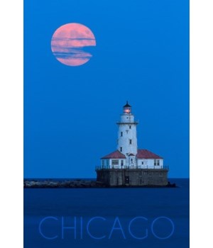 Chicago, Illinois - Lighthouse & Moon -