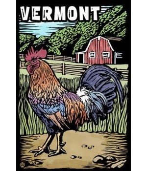 Vermont - Rooster - Scratchboard - Lante