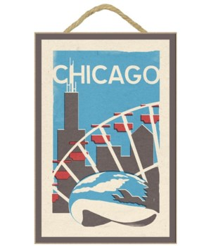 Chicago, Illinois - Woodblock - Lantern