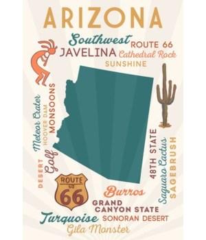 Arizona - State shape - words / cactus i