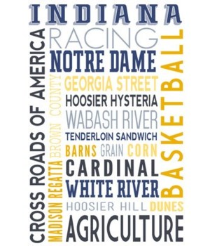 Indiana - Typography - Lantern Press 7x1