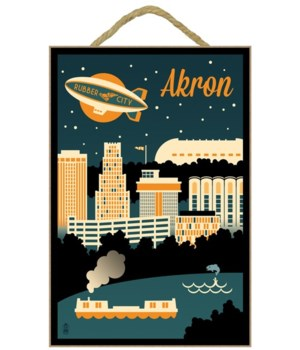 Akron, Ohio - Retro Skyline - Lantern Pr