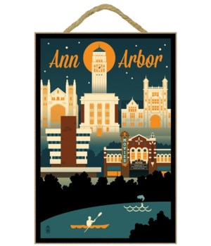 Ann Arbor, Michigan - Retro Skyline - La