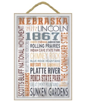 Nebraska - Rustic Typography - Lantern P