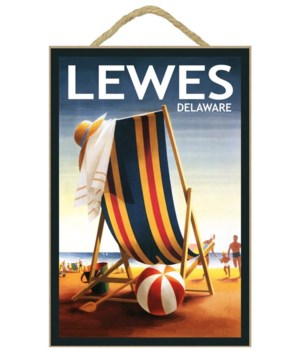 Lewes, Delaware - Beach Chair and Ball -