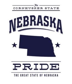 Nebraska State Pride - Blue on White