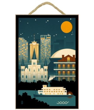 New Orleans, Louisiana - Retro Skyline (