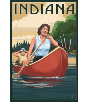 Indiana - Canoers on Lake