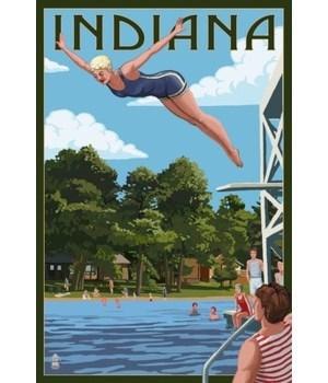 Indiana - Woman Diving & Lake