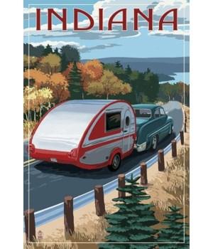 Indiana - Retro Camper on Road