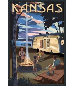 Kansas - Retro Camper & Lake