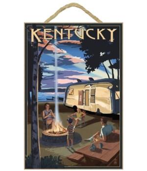 Kentucky - Retro Camper & Lake - Lantern