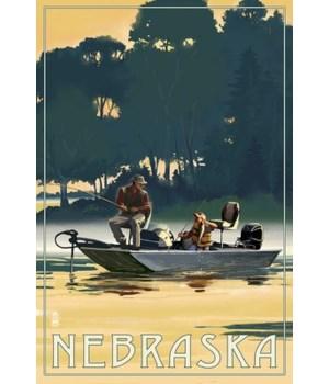 Nebraska - Fisherman in Boat