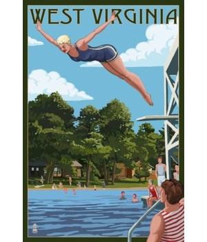 WV - Woman Diving & Lake