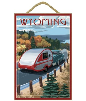 Wyoming - Retro Camper on Road - Lantern
