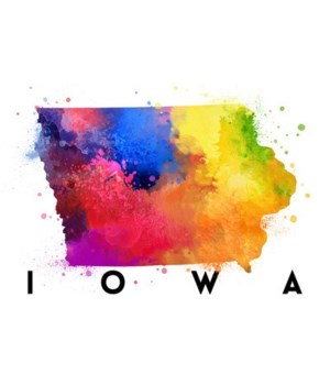 Iowa - State Abstract Watercolor