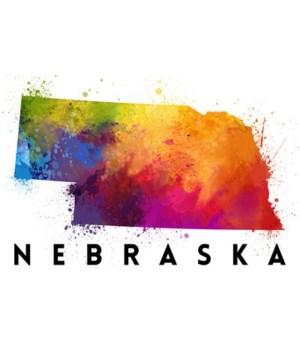 Nebraska - State Abstract Watercolor