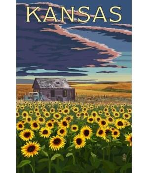 Kansas -Wheat Fields-Shack & Sunflowers