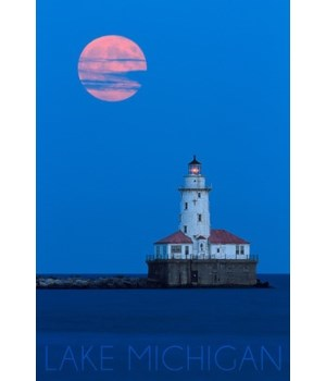 Lake Michigan - Moon & Lighthouse