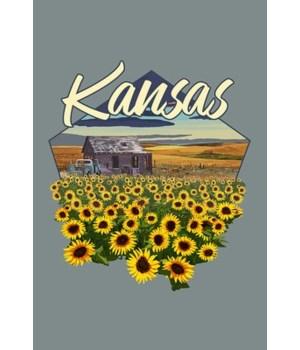 Kansas - Shack & SUnflowers - Contour