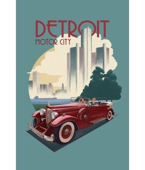 Detroit, Michigan-Vintage Car & Skyline