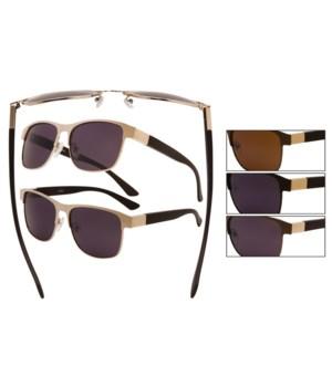 Men's metal wire polarized sunglasses