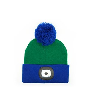 Kids Green Rechargeable LED Beanie 4PC