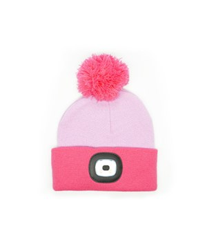 Kids Pink Rechargeable LED Beanie 4PC