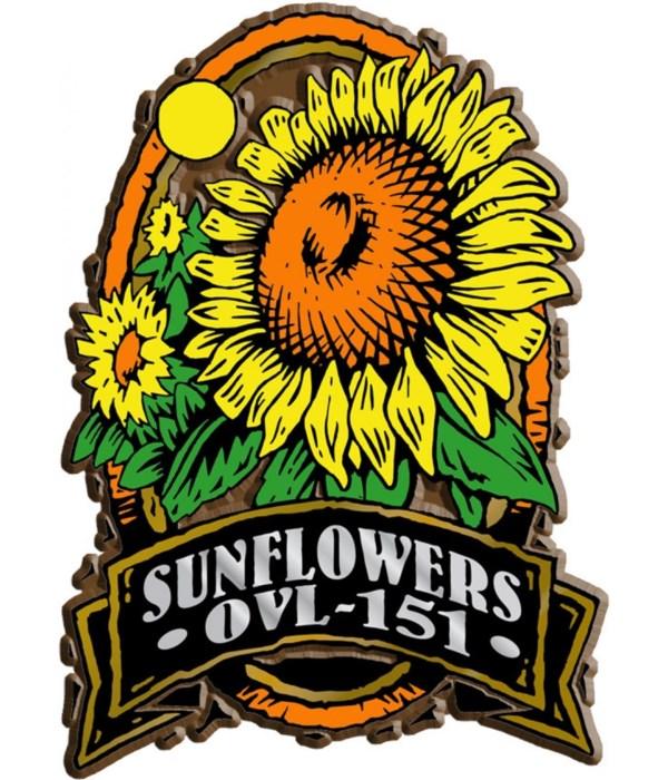 Oval Sunflower imprint magnet